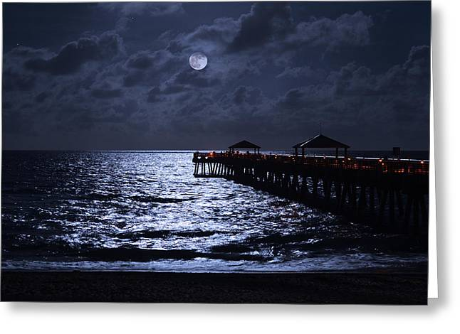 Moon And Sea Greeting Card by Laura Fasulo