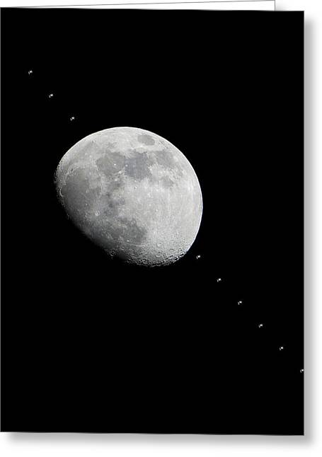 Moon And The Iss Greeting Card