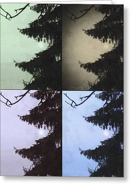 Greeting Card featuring the photograph Moon And Tree by Photographic Arts And Design Studio