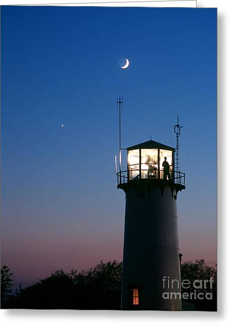 Moon And Venus Greeting Card by Chris Cook