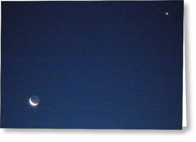 Moon And Venus Greeting Card by Susan Sidorski