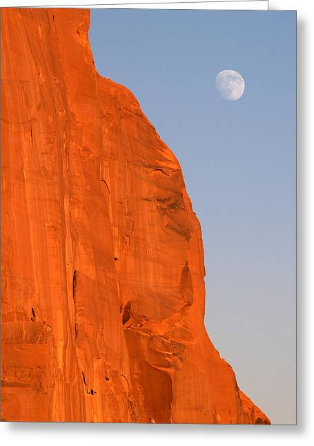 Moon At Monument Valley Greeting Card