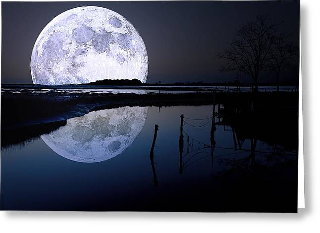Moon At Night Greeting Card by Gianfranco Weiss