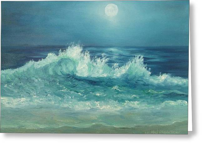 Moon Beach Painting Greeting Card
