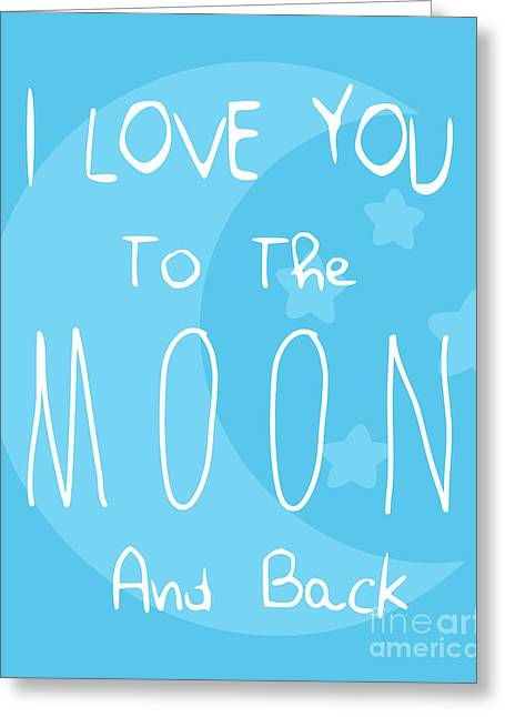 Moon Blue Greeting Card