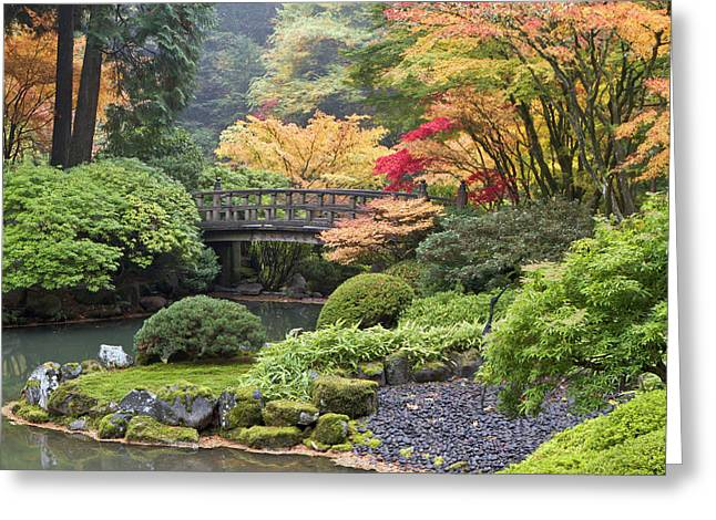 Moon Bridge And Autumn Colors, Portland Greeting Card by William Sutton
