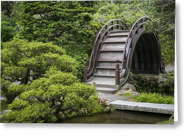 Moon Bridge - Japanese Tea Garden Greeting Card by Adam Romanowicz