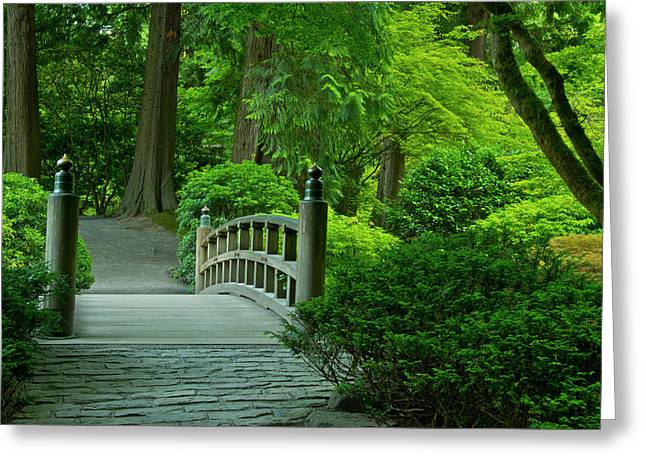Moon Bridge, Summer, Portland Japanese Greeting Card
