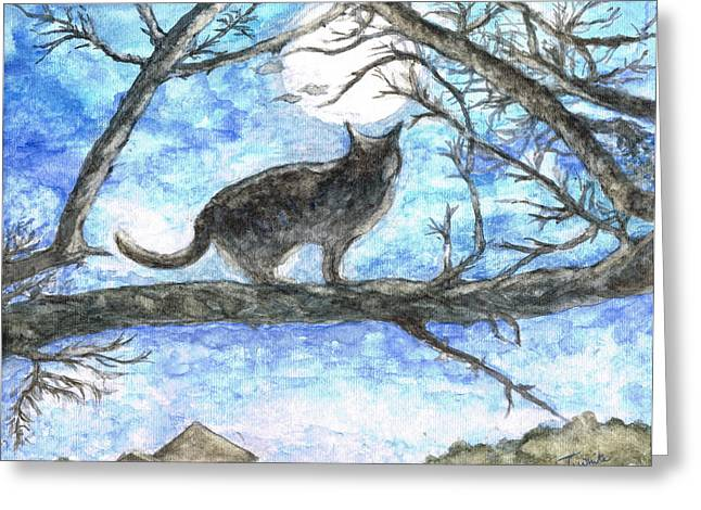 Greeting Card featuring the painting Moon Cat by Teresa White