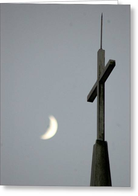 Moon Cross Greeting Card by Beverly Hammond
