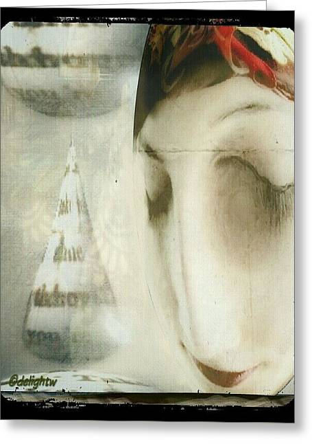 Greeting Card featuring the digital art Moon Face by Delight Worthyn