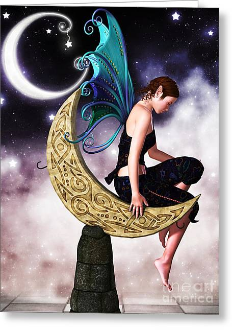 Moon Fairy Greeting Card by Alexander Butler
