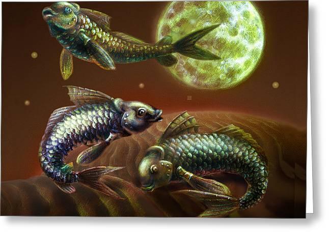 Moon Fish Pillow Greeting Card by Vanessa Bates