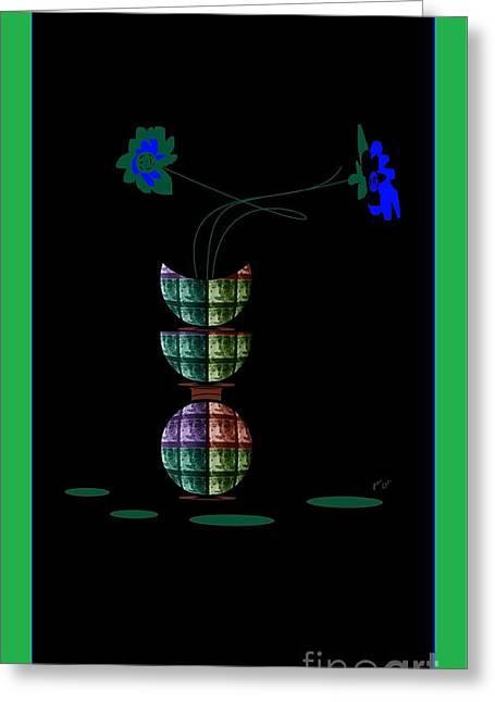 Greeting Card featuring the digital art Moon Flower 1 by Ann Calvo