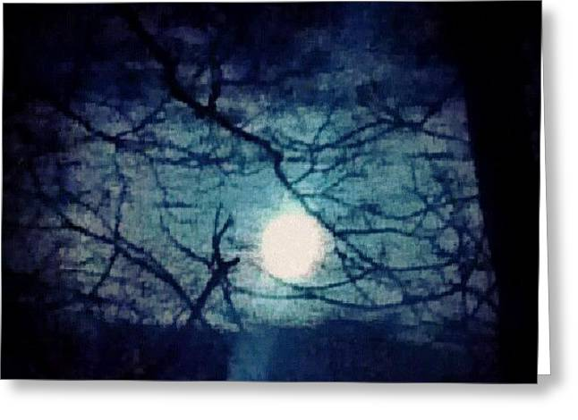Moon Framed By Tree Branches Greeting Card