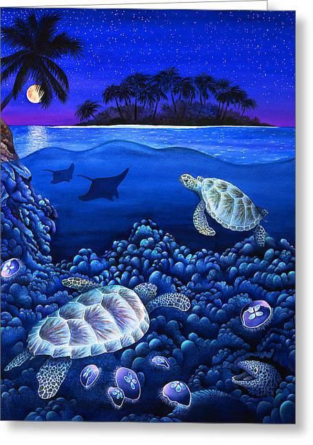 Moon Glow Greeting Card by Carolyn Steele