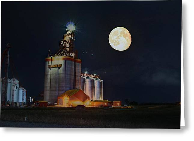 Moon Glow Over Elevator Greeting Card