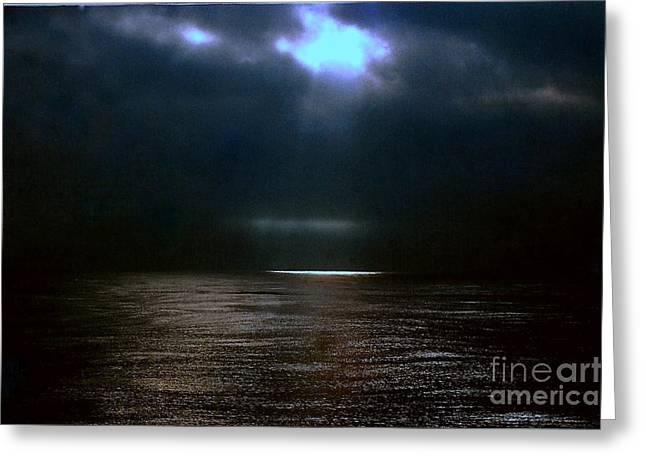 Moon Glow Over The Gulf Of Mexico Greeting Card by Michael Hoard