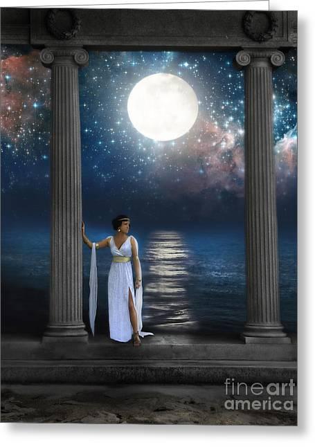 Moon Goddess Greeting Card by Jill Battaglia