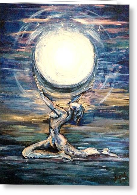 Greeting Card featuring the painting Moon Goddess by Karen  Ferrand Carroll