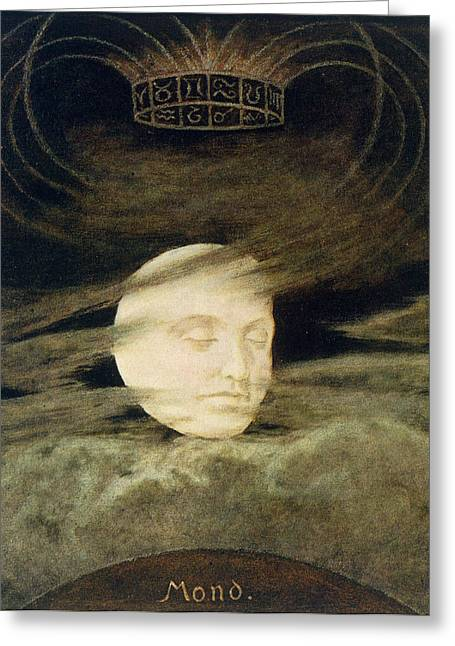 Moon Greeting Card by Hans Thoma