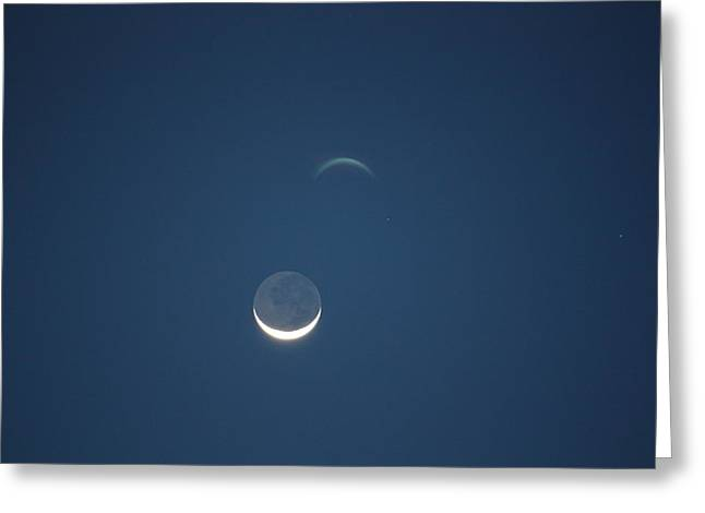 Moon In Blue Greeting Card