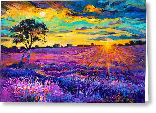 Lavender Field Greeting Card by Ivailo Nikolov