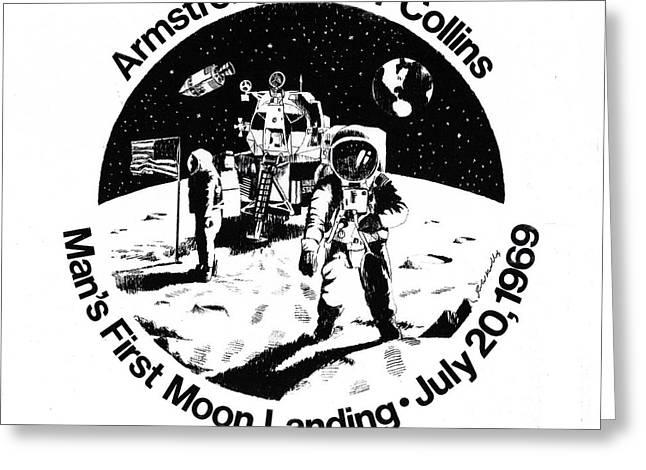 Moon Landing Greeting Card by J W Kelly