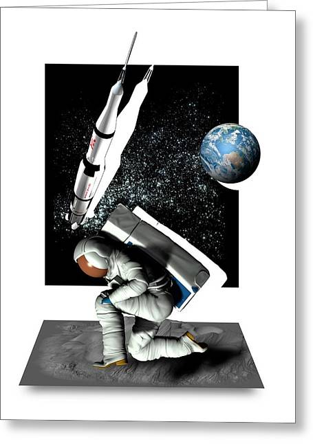 Moon Landing Greeting Card by Victor Habbick Visions