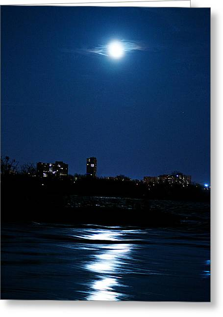 Moon Light Greeting Card by Andre Faubert