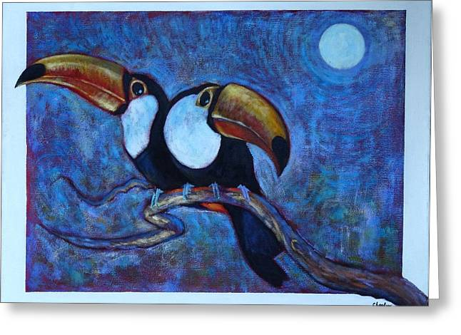 Greeting Card featuring the painting Dreaming Of A Rainforest Moon by Charles Munn