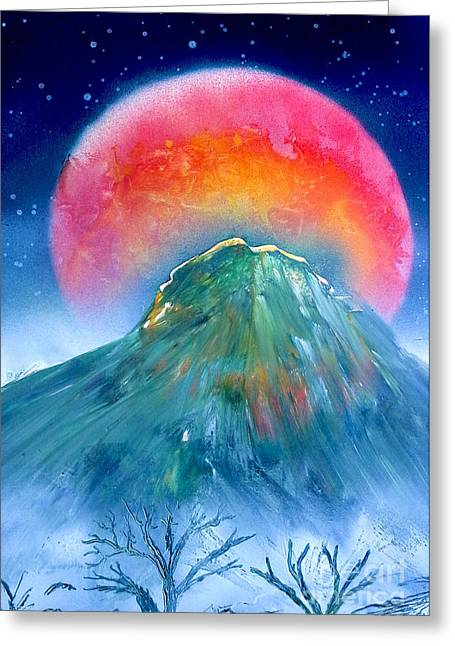 Moon Light Mountain Greeting Card by William  Dorsett