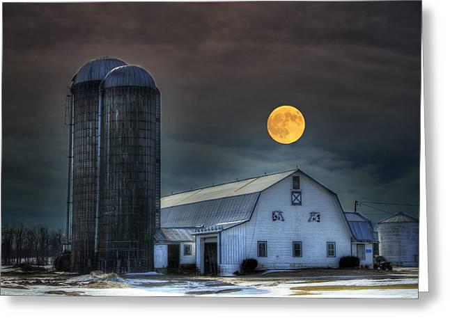 Moon Light Night On The Farm Greeting Card by David Simons