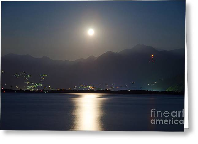 Moon Light Over A Lake Greeting Card by Mats Silvan