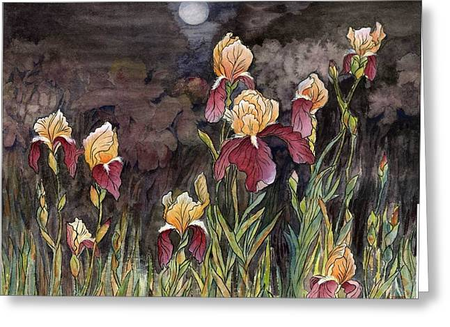Greeting Card featuring the painting Moon Light At My Backyard by Ping Yan