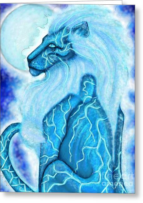 Moon Lion Greeting Card by Coriander  Shea