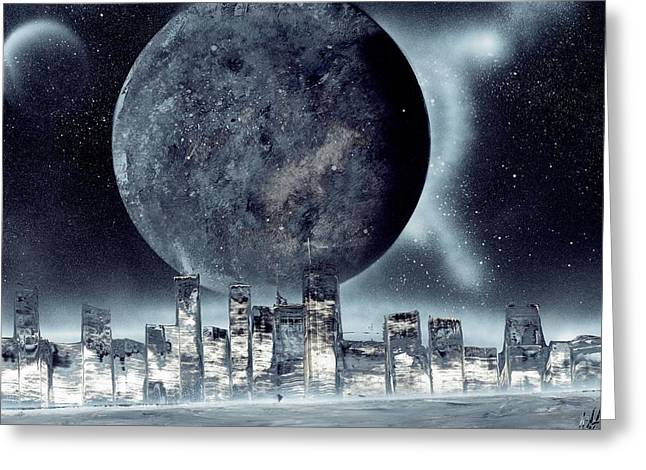 Moon Lit City Greeting Card by Marc Chambers