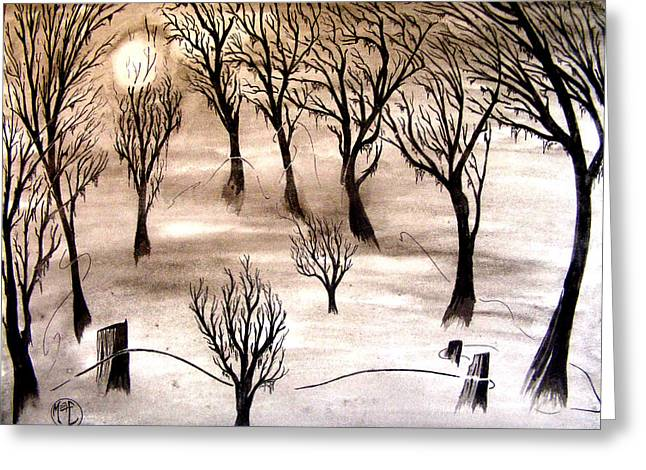 Greeting Card featuring the painting Moon Lit Fog by Justin Moore