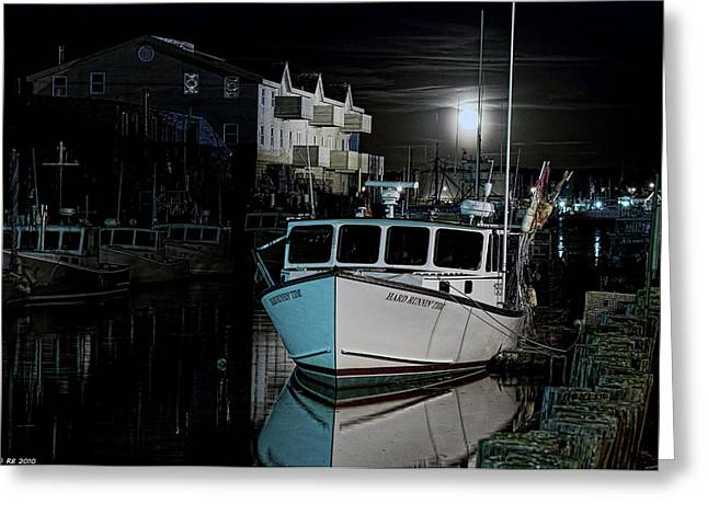 Greeting Card featuring the photograph Moon Lit Harbor by Richard Bean