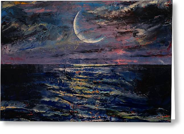 Moon Greeting Card by Michael Creese