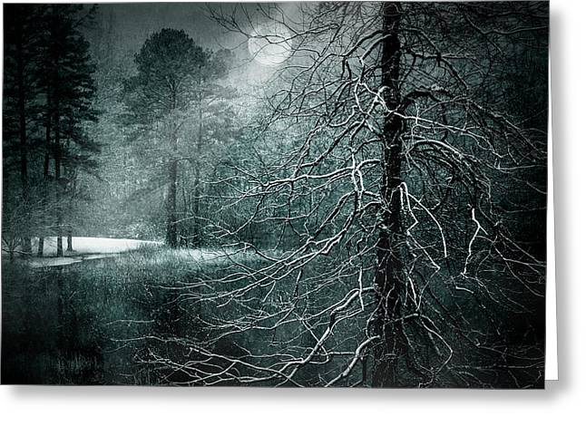 Moon Misty Lake  Greeting Card by Dorothy Walker