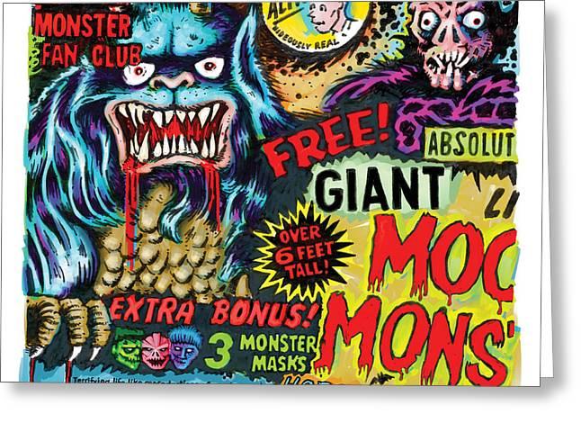 Moon Monster Greeting Card by Vince Bonavoglia