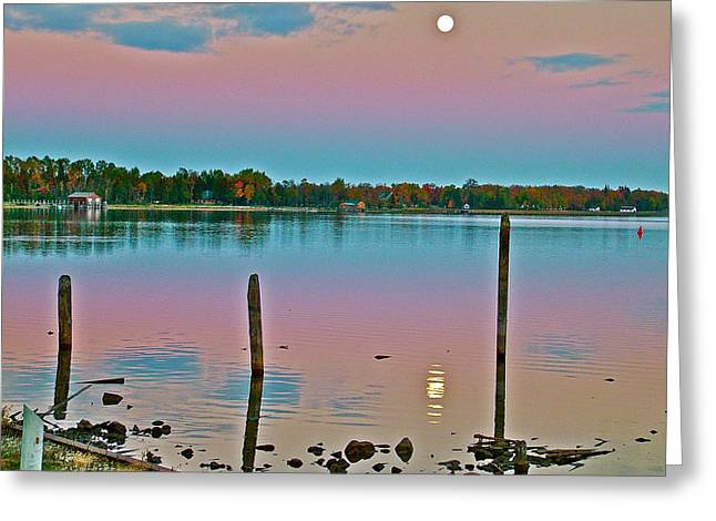 Greeting Card featuring the photograph Moon On Lake Huron From Cedarville-michigan by Ruth Hager