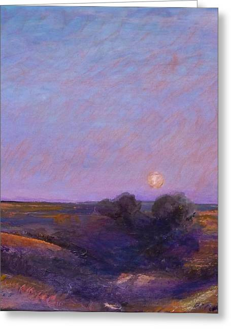 Moon On The Horizon Greeting Card