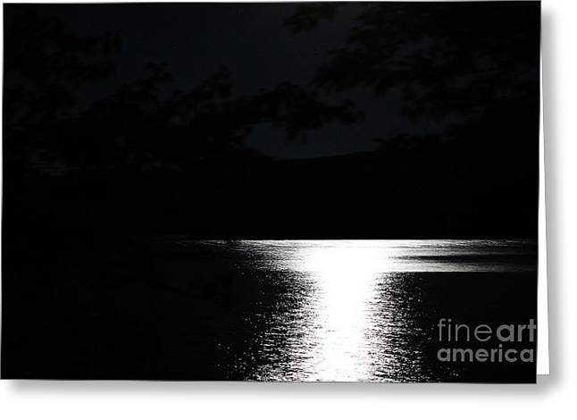 Moon On Waterton Lake Greeting Card