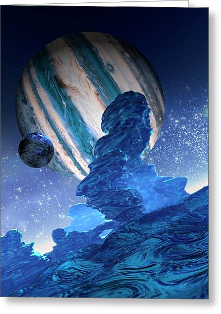 Moon Orbiting A Planet Greeting Card by Victor Habbick Visions