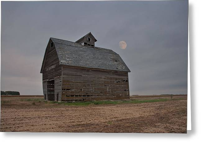 Moon Over Abandoned Iowa Corn Crib Greeting Card