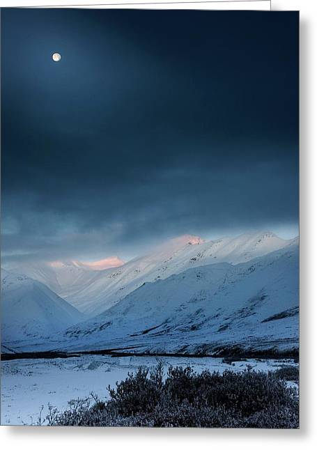Moon Over Atigun Pass In Alaska Greeting Card by Chris Madeley