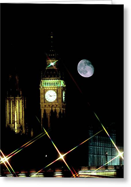 Moon Over Big Ben Greeting Card by Robin Scagell/science Photo Library