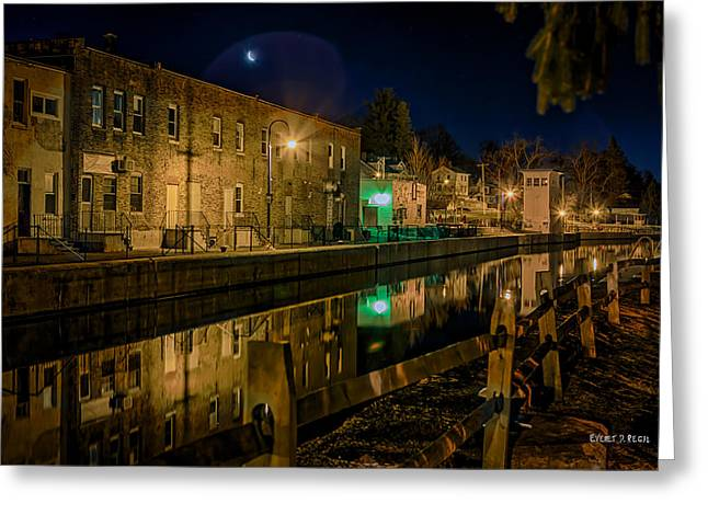 Moon Over Canal Greeting Card by Everet Regal